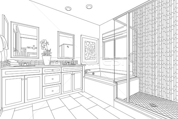 Detailed Drawing of A Custom Master Bathroom on White Stock photo © feverpitch