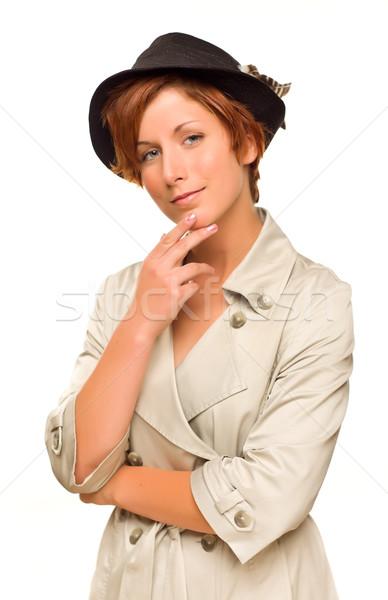 привлекательный красный девушки окоп пальто Сток-фото © feverpitch