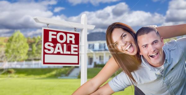 Katonaság pár otthon vásár felirat játékos Stock fotó © feverpitch