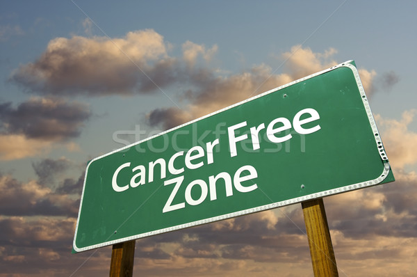 Cancer Free Zone Green Road Sign and Clouds Stock photo © feverpitch