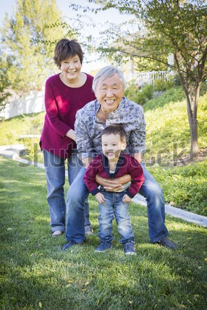 Mixed Race Young Family Portrait Outdoors Stock photo © feverpitch