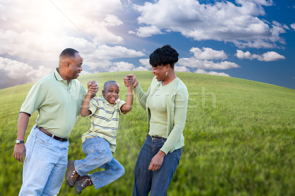 Family Over Clouds, Sky and Grass Field Stock photo © feverpitch