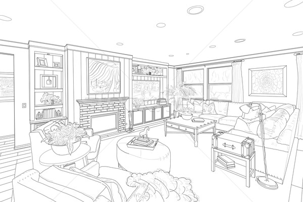 Line Drawing Room : Black line drawing of a custom living room stock photo
