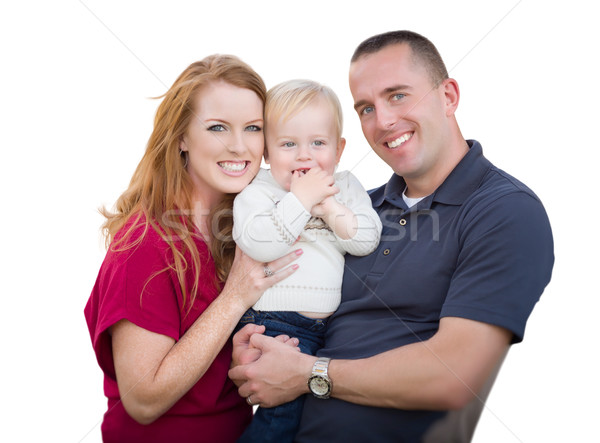 Young Military Parents and Child On White Stock photo © feverpitch