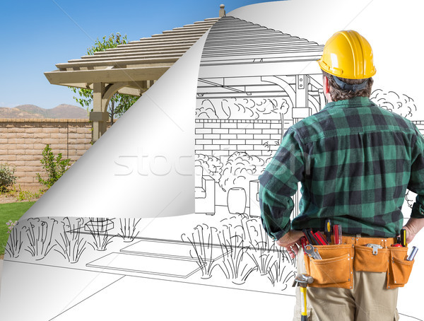 Contractor Facing Pergola Drawing with Page Flipping to Complete Stock photo © feverpitch