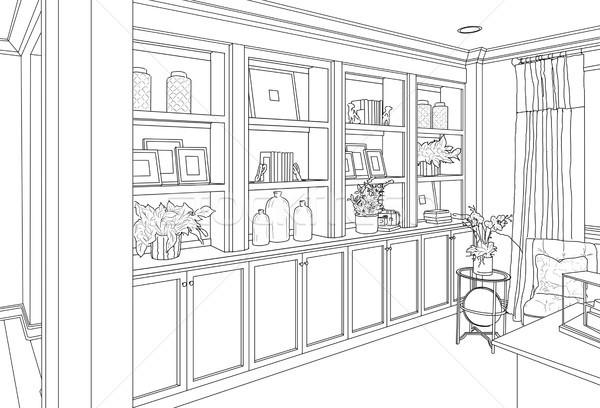 Détaillée dessin coutume salon tablettes maison Photo stock © feverpitch