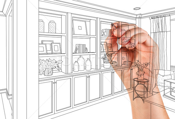 Hand Drawing Home Built-in Shelves and Cabinets on White Stock photo © feverpitch