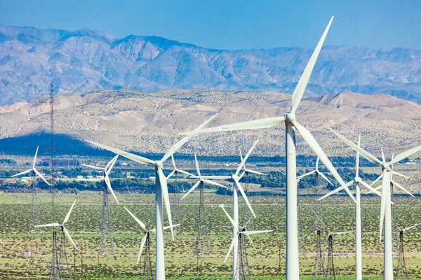 Dramatic Wind Turbine Farm in the Desert of California. Stock photo © feverpitch