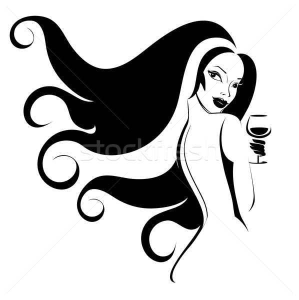 Woman with a glass of wine Stock photo © FidaOlga
