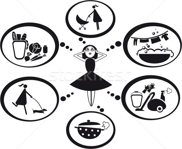 Pensées tous les jours ménage alimentaire enfant buanderie Photo stock © FidaOlga