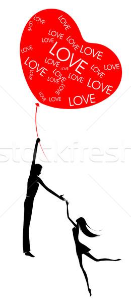 Mútuo amor homem mulher voar balão Foto stock © FidaOlga