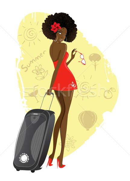 Girl with a suitcase Stock photo © FidaOlga