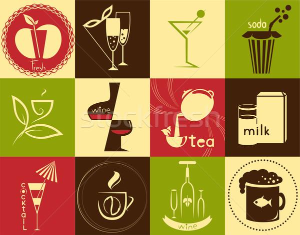 icons on the theme - drinks Stock photo © FidaOlga