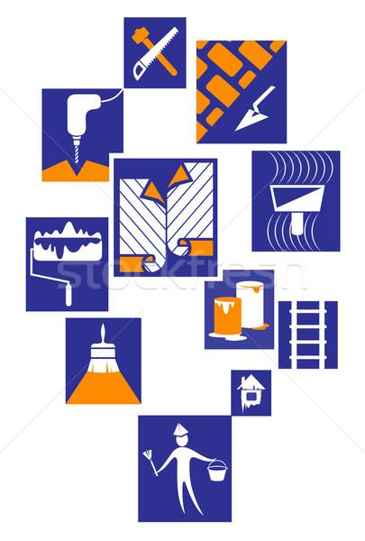 Construction icons Stock photo © FidaOlga