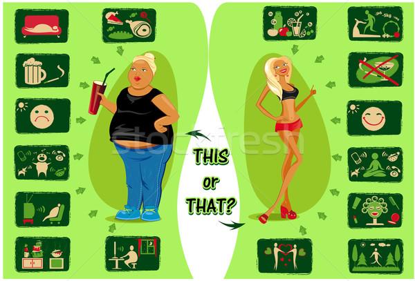Healthy lifestyle and destructive life Stock photo © FidaOlga