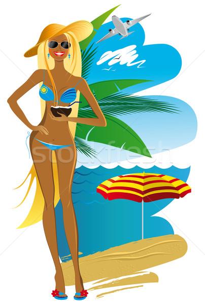 Woman on the beach Stock photo © FidaOlga