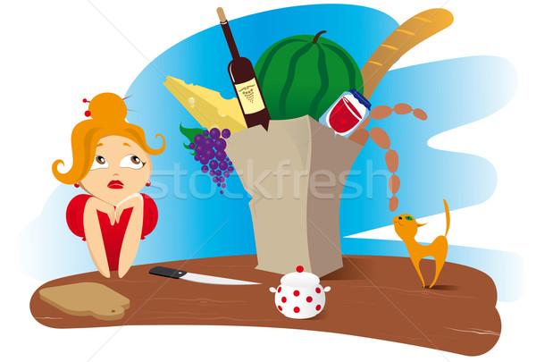 woman with products Stock photo © FidaOlga