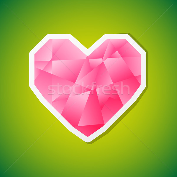 Vecteur coeur vignette propre rose diamant Photo stock © filip_dokladal