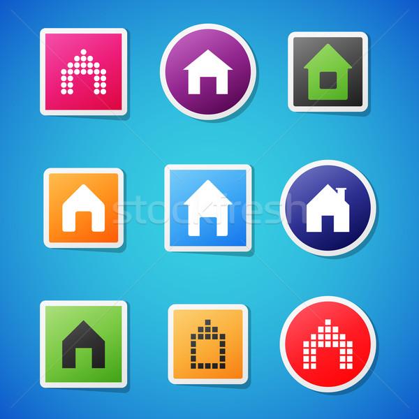 Vector home icons Stock photo © filip_dokladal