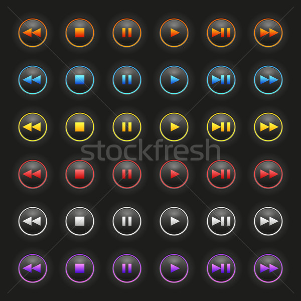 вектора СМИ Кнопки темно чистой цвета Сток-фото © filip_dokladal