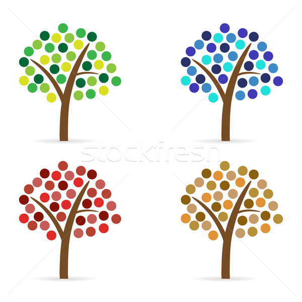 набор аннотация деревья четыре круга лист Сток-фото © filip_dokladal