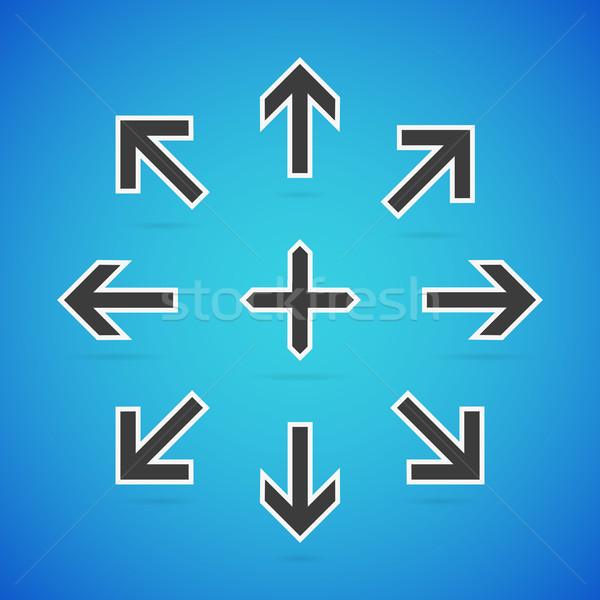 вектора стрелка набор чистой символ иконки Сток-фото © filip_dokladal