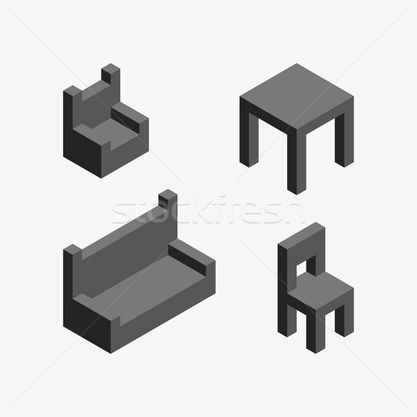 Vector isometrische meubels schone grijs ingesteld Stockfoto © filip_dokladal