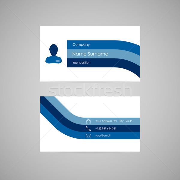 Vecteur carte de visite propre bleu modèle design Photo stock © filip_dokladal