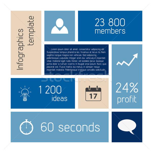 Vecteur infographie modèle propre bleu couleur Photo stock © filip_dokladal