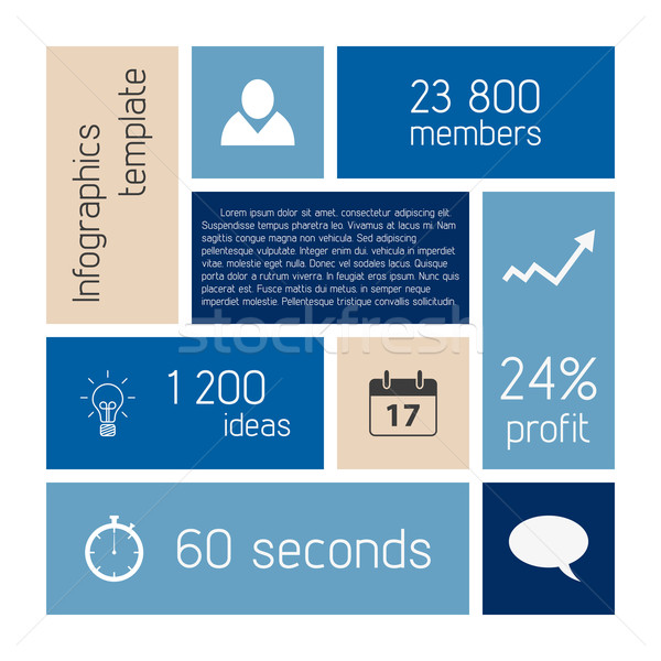вектора Инфографика шаблон чистой синий цвета Сток-фото © filip_dokladal