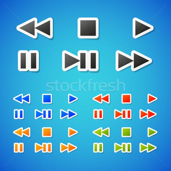 Vector media schone kleur icon Stockfoto © filip_dokladal