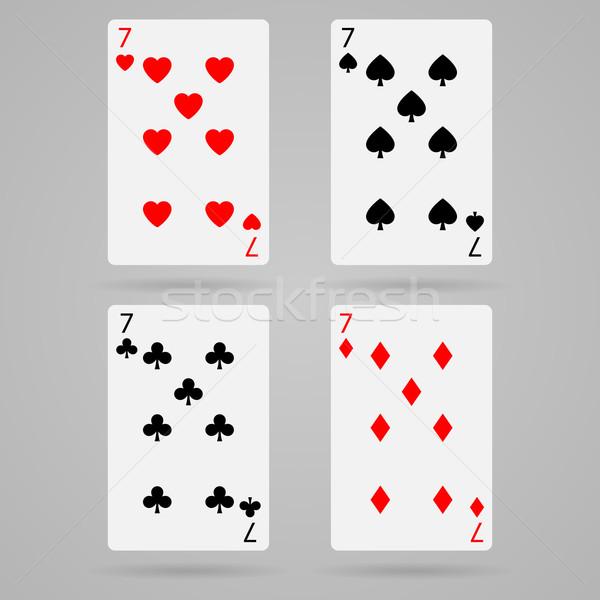 Vector zeven kaarten schone ingesteld speelkaarten Stockfoto © filip_dokladal