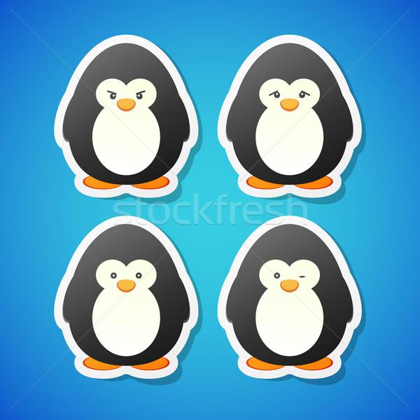 Vector penguins set Stock photo © filip_dokladal