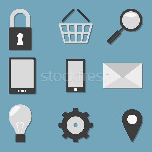 Vecteur icônes propre blanc noir lumière Photo stock © filip_dokladal