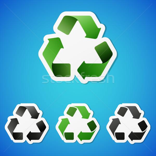Vector recycling stickers schone ingesteld symbool Stockfoto © filip_dokladal