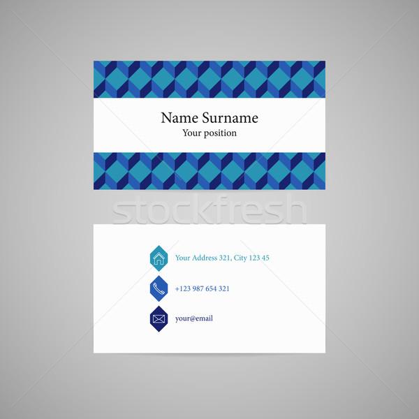Vecteur carte de visite propre bleu isométrique modèle Photo stock © filip_dokladal