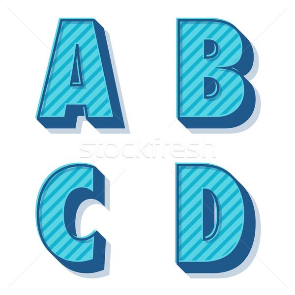 вектора ретро алфавит синий чистой 3D Сток-фото © filip_dokladal