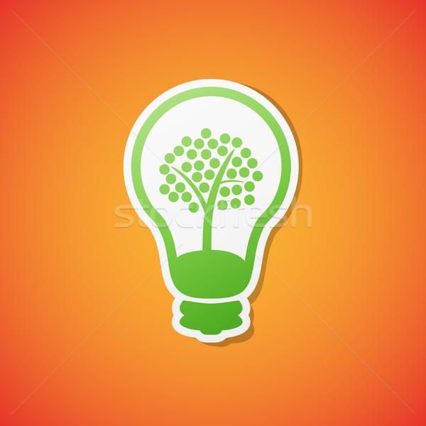 вектора лампа икона чистой зеленый экология Сток-фото © filip_dokladal