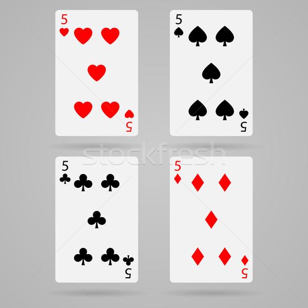 вектора пять карт чистой набор игральных карт Сток-фото © filip_dokladal