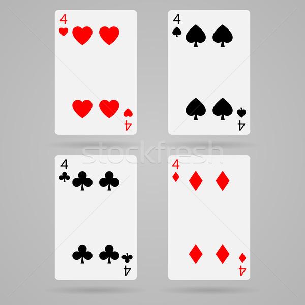 Vecteur quatre cartes propre cartes à jouer Photo stock © filip_dokladal