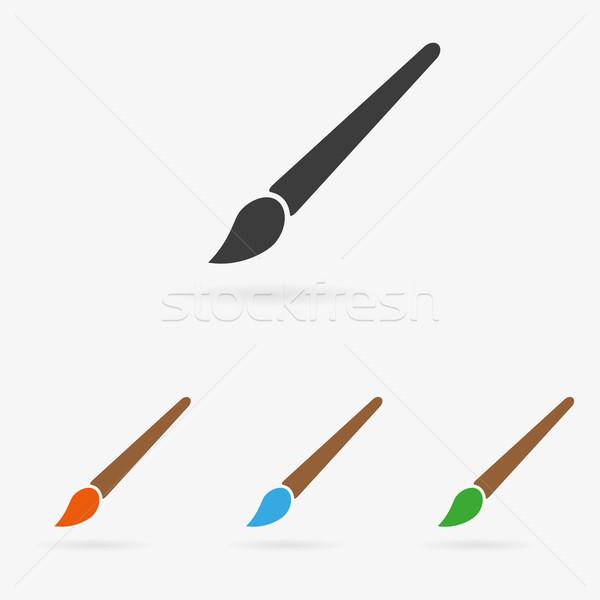 вектора щетка икона чистой цвета искусства Сток-фото © filip_dokladal