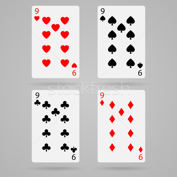 вектора девять карт чистой набор игральных карт Сток-фото © filip_dokladal