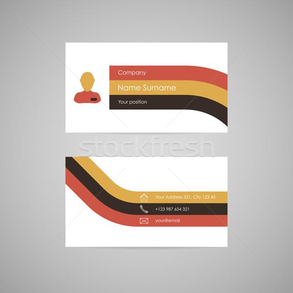 Vecteur carte de visite propre modèle rétro couleurs Photo stock © filip_dokladal