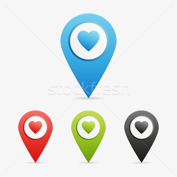 Vector hart ingesteld schone kleur symbool Stockfoto © filip_dokladal