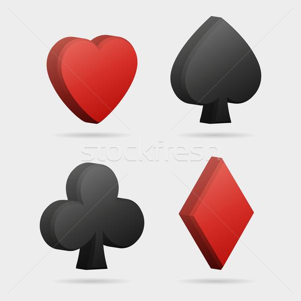 Vector 3d card symbols Stock photo © filip_dokladal