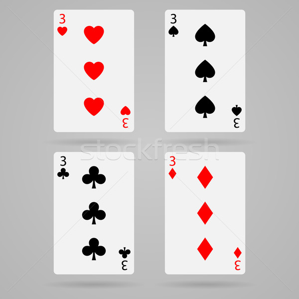 Vecteur trois cartes propre cartes à jouer Photo stock © filip_dokladal