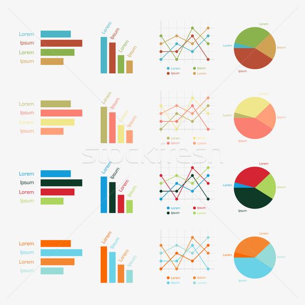 Vector charts ingesteld schone kleur Stockfoto © filip_dokladal
