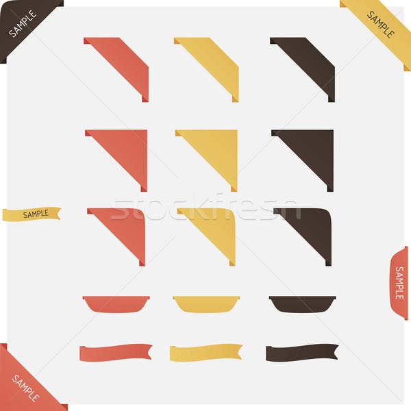 Photo stock: Vecteur · ruban · propre · couleur · rétro