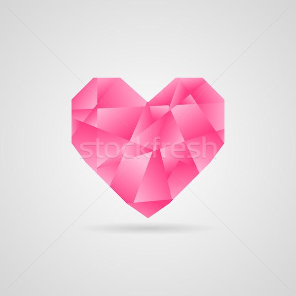 Stockfoto: Abstract · vector · roze · hart · schaduw · liefde