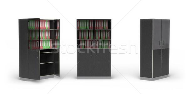 служба шкаф белый 3D изображение древесины Сток-фото © filipok